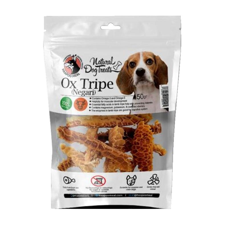 عکس بسته بندی تشویقی سگ هاپومیل مدل Ox Tripe وزن 50 گرم