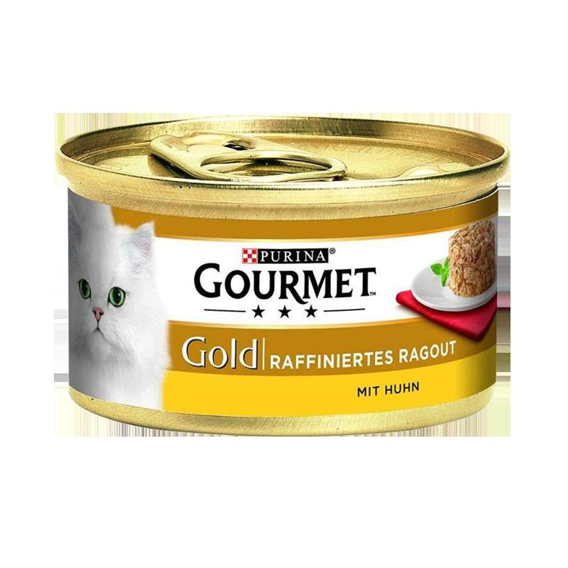 عکس بسته بندی کنسرو غذای گربه گورمت مدل Gold Chicken Savoury Cake وزن ۸۵ گرم
