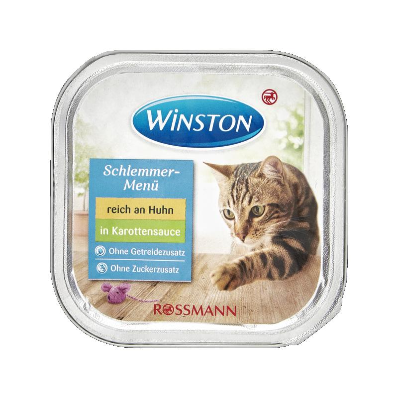 عکس روی بسته بندی غذای کاسهای گربه وینستون مدل Chicken in Carrot Sauce وزن 100 گرم