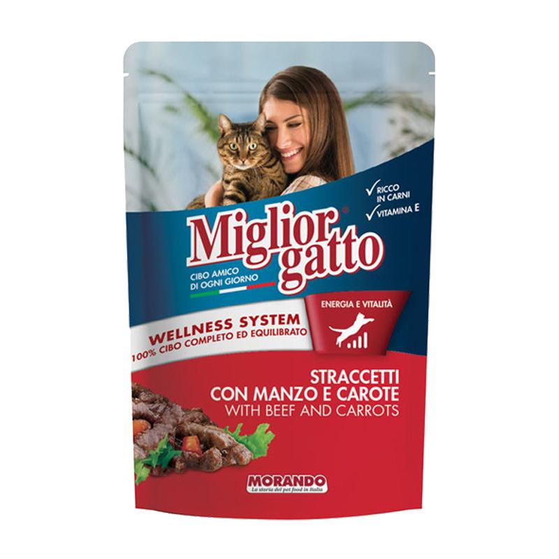 عکس بسته بندی پوچ گربه موراندو مدل Miglior Gatto Beef & Carrots وزن 100 گرم