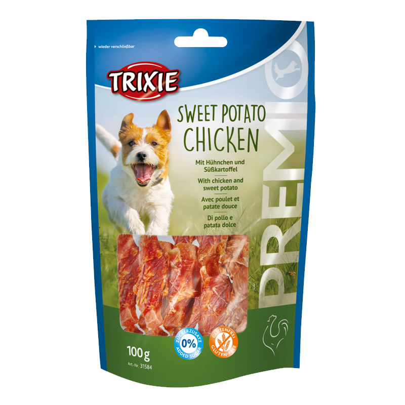 عکس بسته بندی تشویقی سگ تریکسی مدل Sweet Potato Chicken با طعم مرغ و سیب زمینی شیرین وزن 100 گرم