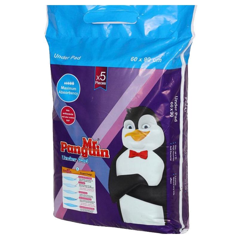 هعکس بسته بندی زیرانداز بهداشتی مستر پنگوئین سایز 90×60 بسته 5 عددی