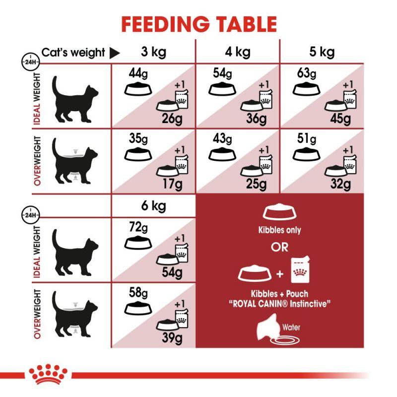 عکس توضیحات تغذیه غذای خشک گربه رویال کنین مدل Regular Fit 32 وزن 400 گرم