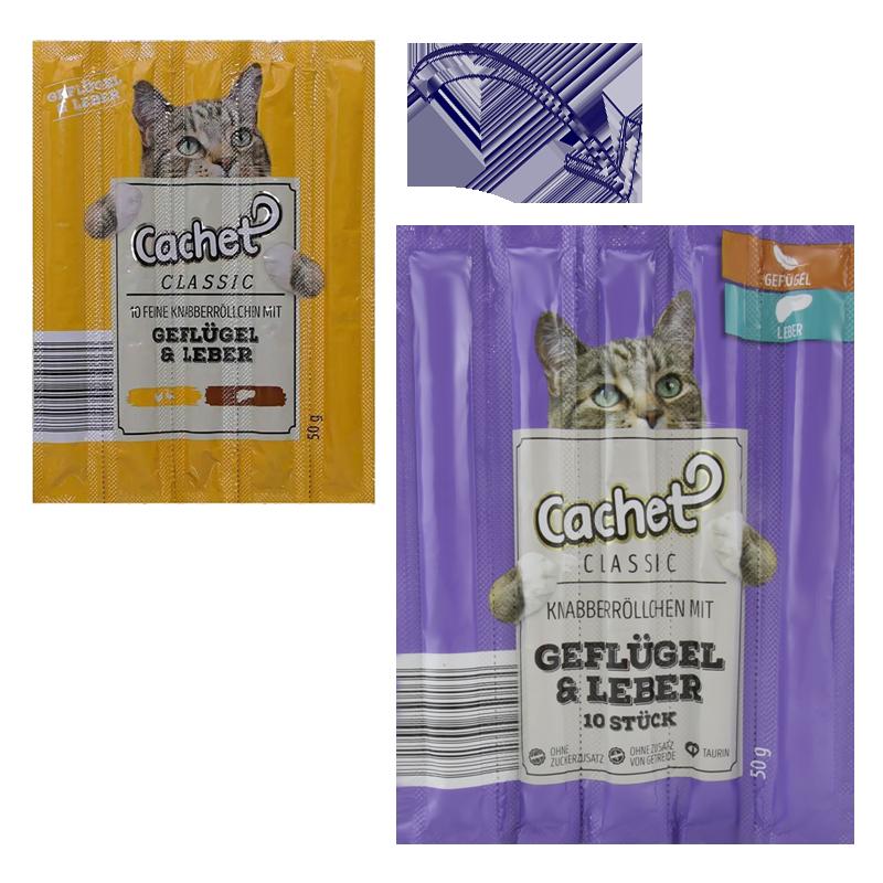 عکس تغییرات بسته بندی اسنک تشویقی گربه کچت مدل Chicken & Liver بسته 5 عددی