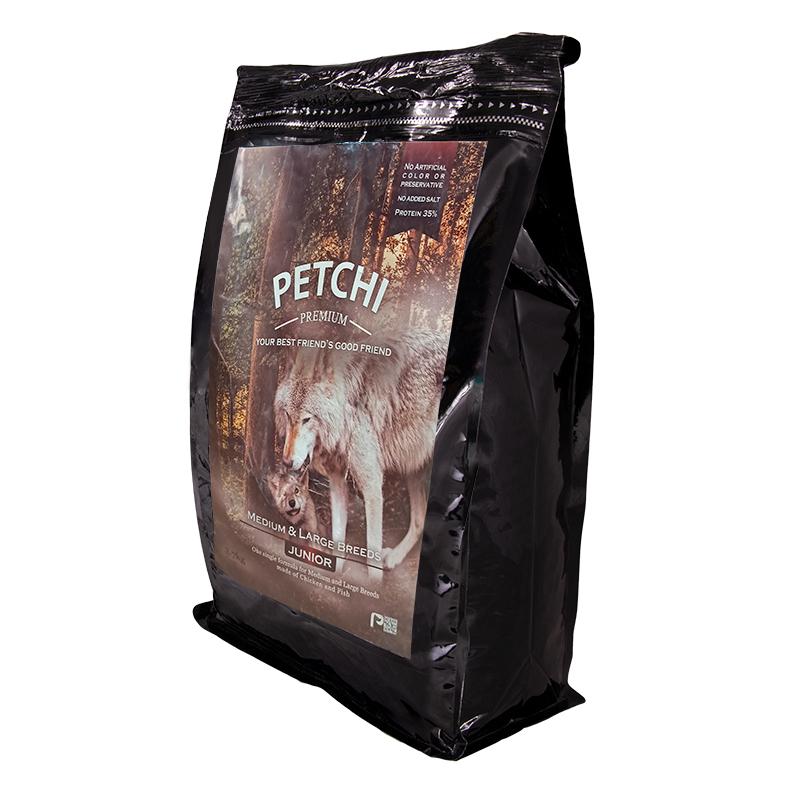 عکس جزییات بسته بندی غذای خشک پرمیوم سگ پتچی مدل Junior Medium & Large وزن 3.7 کیلوگرم