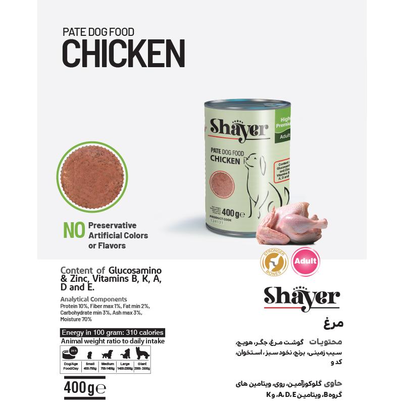 عکس جزییات کنسرو غذای سگ شایر مدل Chicken وزن 400 گرم