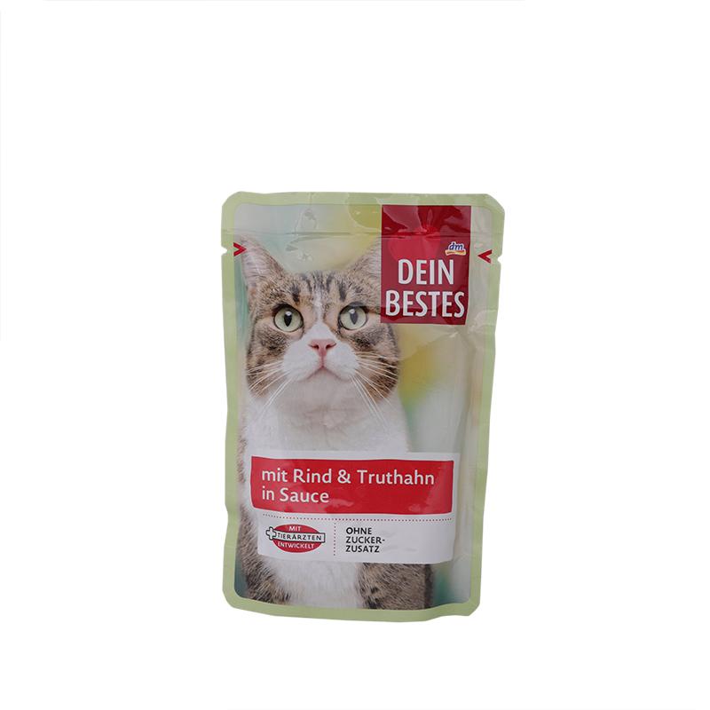 عکس بسته بندی پوچ گربه دین بستس مدل Beef & Turkey وزن 100 گرم