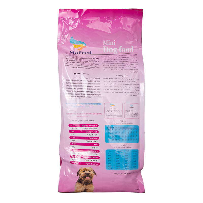 عکس پشت بسته بندی غذای خشک سگ مفید مدل Daily Mini وزن 2 کیلوگرم