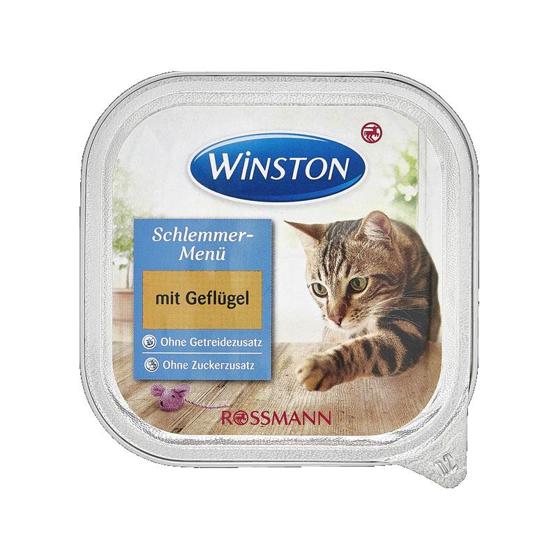 عکس روی بسته بندی غذای کاسهای گربه وینستون مدل Poultry وزن 100 گرم