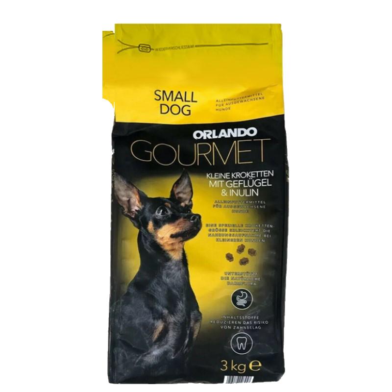 عکس روی بسته بندی غذای خشک سگ اورلاندو مدل Small Breeds Adult وزن 3 کیلوگرم