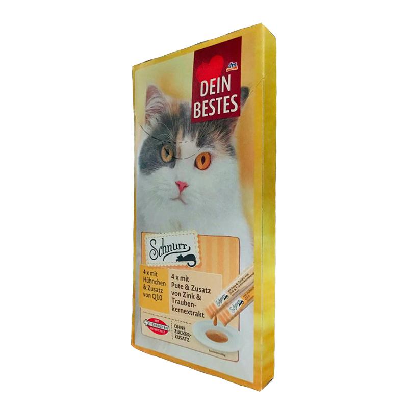 عکس از کنار بسته بندی بستنی گربه دین بستس مدل Purr بسته 8 عددی