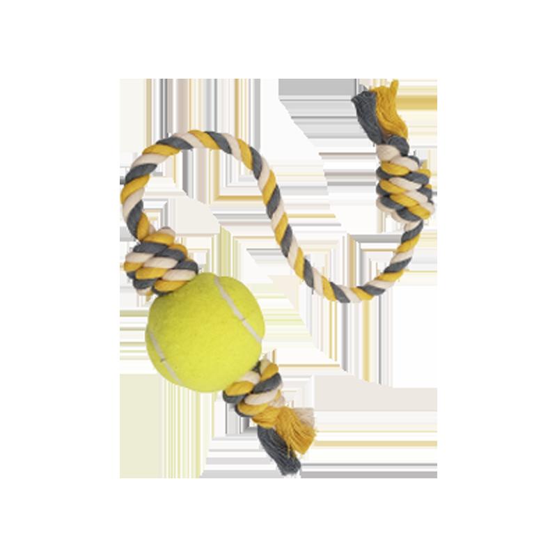 اسباب بازی سگ مدل توپ و طناب C رنگ سفید زرد طوسی