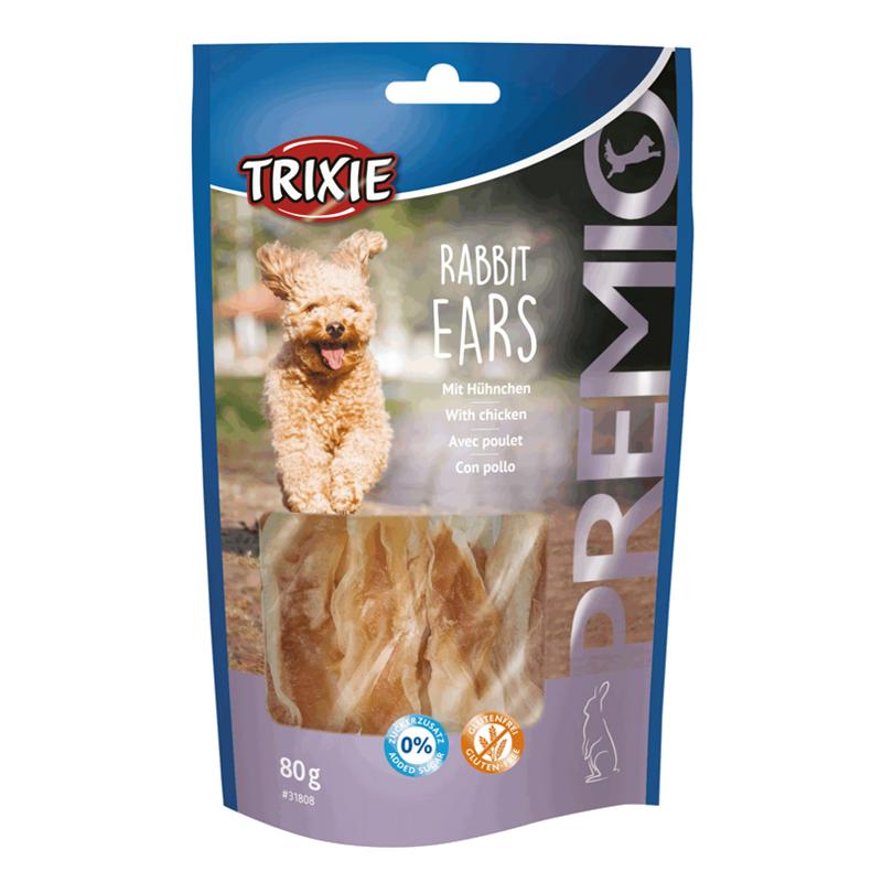 عکس بسته بندی تشویقی سگ تریکسی مدل Rabbit Ears با طعم مرغ وزن 80 گرم