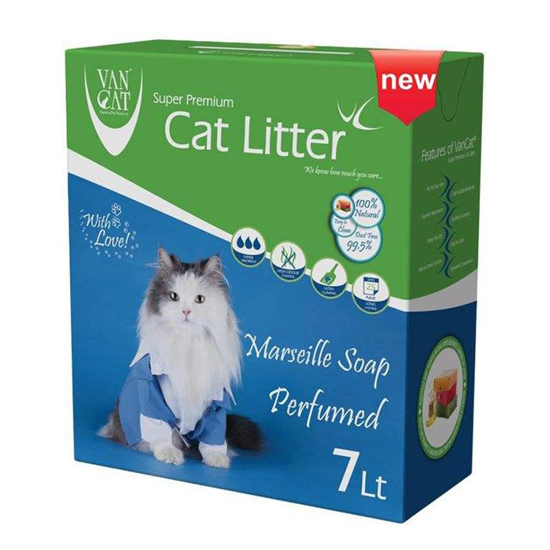 عکس بسته بندی خاک گربه ون کت مدل Marseille Soap حجم 7 لیتر
