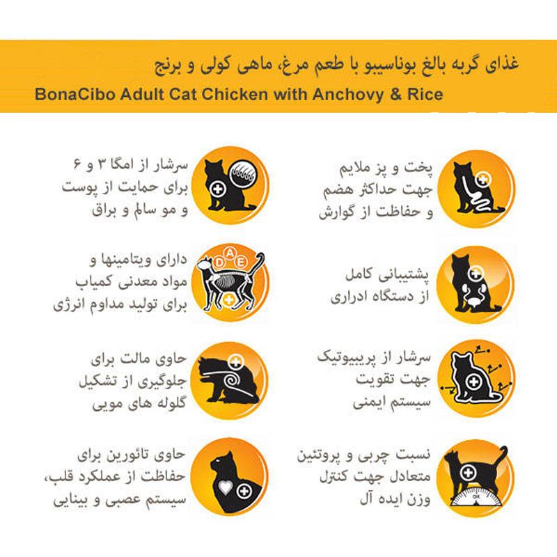 عکس مشخصات غذای خشک گربه بوناسیبو مدل Adult Chicken with Anchovy & Rice وزن 2 کیلوگرم