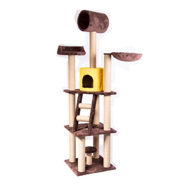 عکس اسکرچر ، لانه ، جای خواب و تونل گربه کدیپک مدل بلوط رنگ قهوه ای