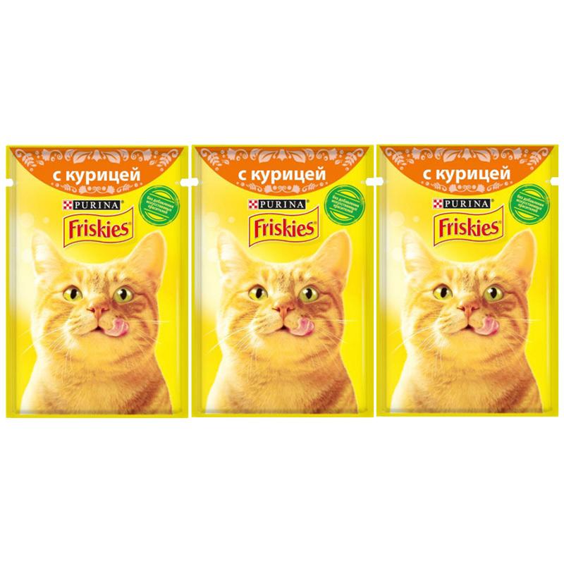عکس باندل بسته پوچ گربه فریسکیز مدل Chicken وزن 85 گرم مجموعه ۳ عددی