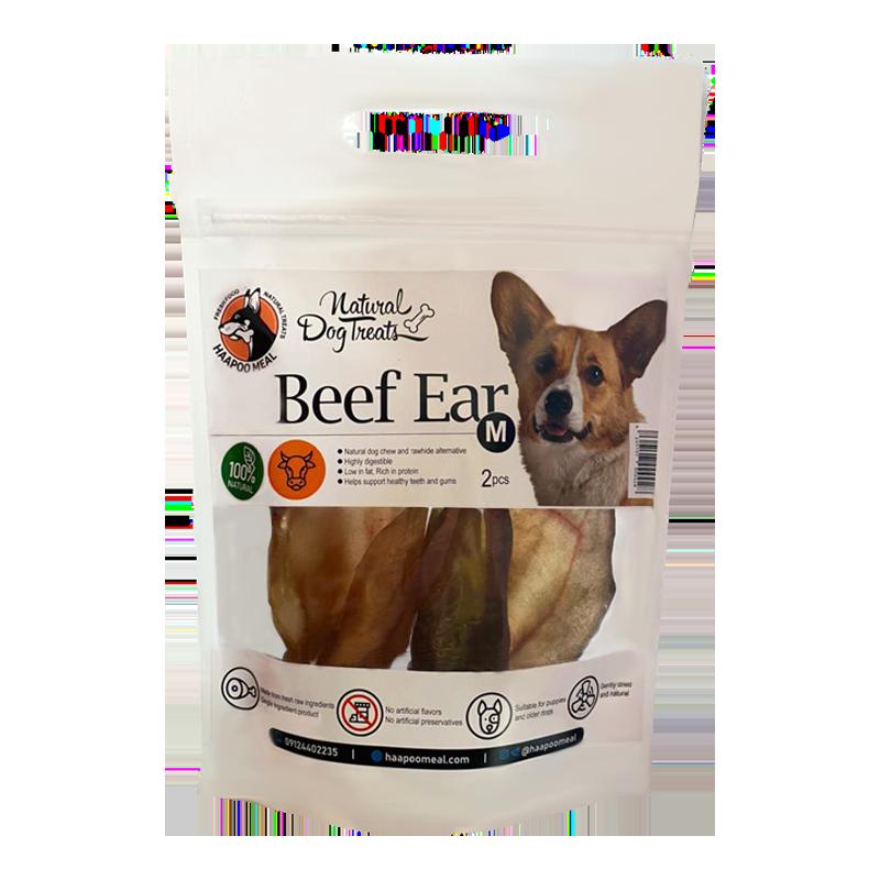 عکس بسته بندی تشویقی سگ هاپومیل مدل Beef Ear وزن 100 گرم
