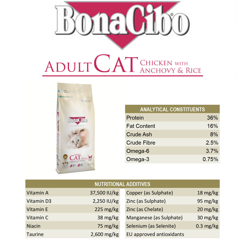 عکس اطلاعات غذای خشک گربه بوناسیبو مدل Adult Chicken with Anchovy & Rice وزن 2 کیلوگرم