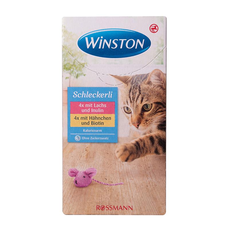 عکس بسته بندی بستنی گربه وینستون مدل Chicken & Fish بسته 8 عددی