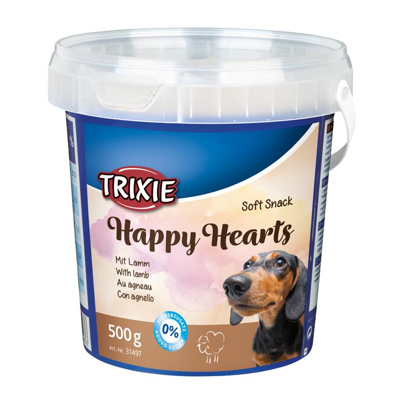 عکس بسته بندیتشویقی سگ تریکسی مدل Happy Hearts با طعم بره وزن 500 گرم