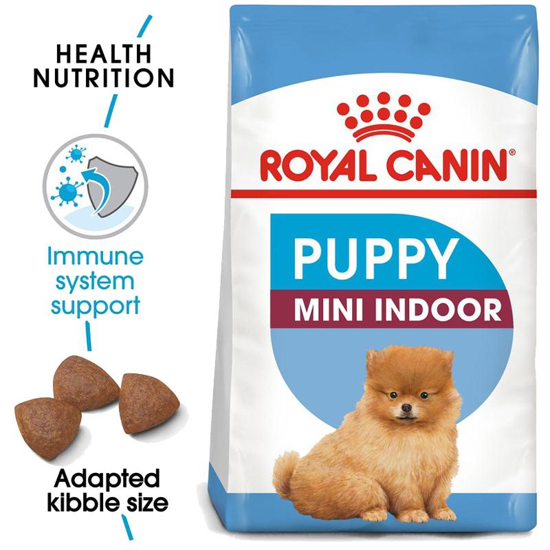 عکس جزییات غذای خشک توله سگ رویال کنین مدل Mini Indoor Puppy وزن 1.5 کیلوگرم