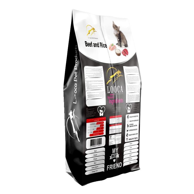 عکس پشت بسته بندی غذای خشک گربه لوکا مدل Adult Beef & Rice وزن 2 کیلوگرم