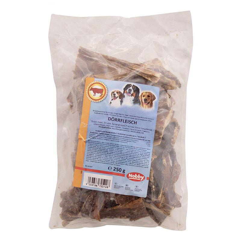 عکس پشت بسته بندی تشویقی سگ نوبی مدل Dried Meat وزن 250 گرم