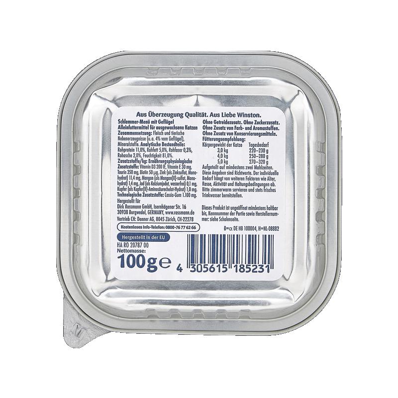 عکس پشت بسته بندی غذای کاسهای گربه وینستون مدل Poultry وزن 100 گرم