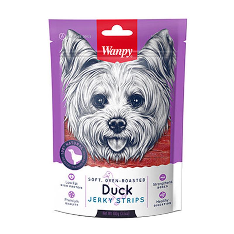 عکس بسته بندی تشویقی سگ ونپی مدل Duck Jerky Strips وزن 100 گرم