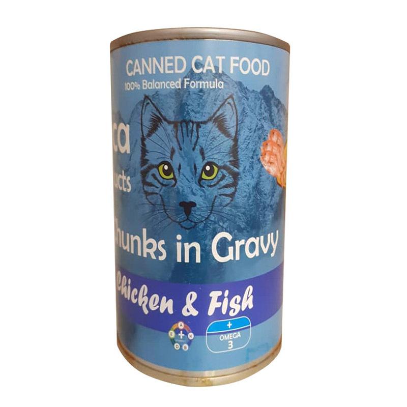 عکس کنسرو غذای گربه لوکا مدل Chicken & Fish وزن 425 گرم