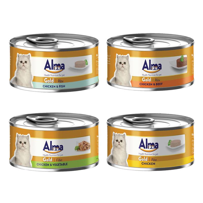 عکس باندل بسته کنسرو غذای گربه آلما مدل Gold Pack مجموعه 4 عددی