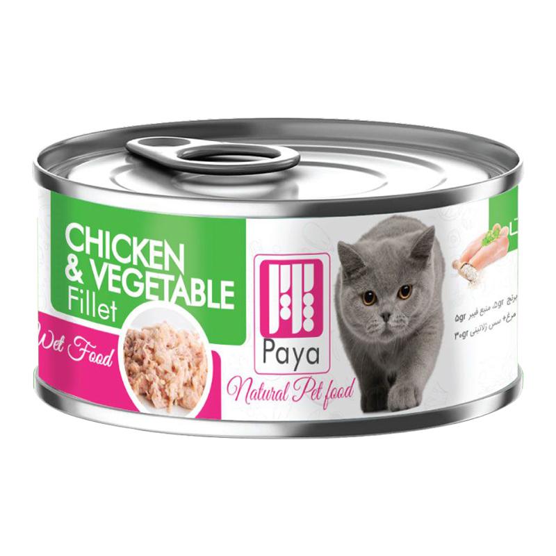 عکس بسته بندی کنسرو غذای گربه پایا مدل Chicken & Vegetable وزن 120 گرم