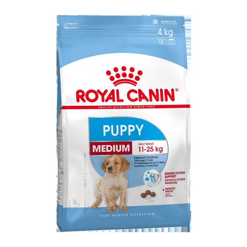 عکس بسته بندی غذای خشک توله سگ رویال کنین مدل Medium Puppy وزن 4 کیلوگرم