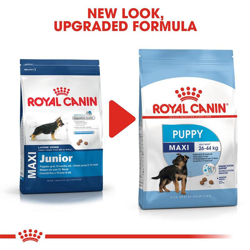 عکس تغییرات غذای خشک توله سگ رویال کنین مدل Maxi Puppy وزن 4 کیلوگرم