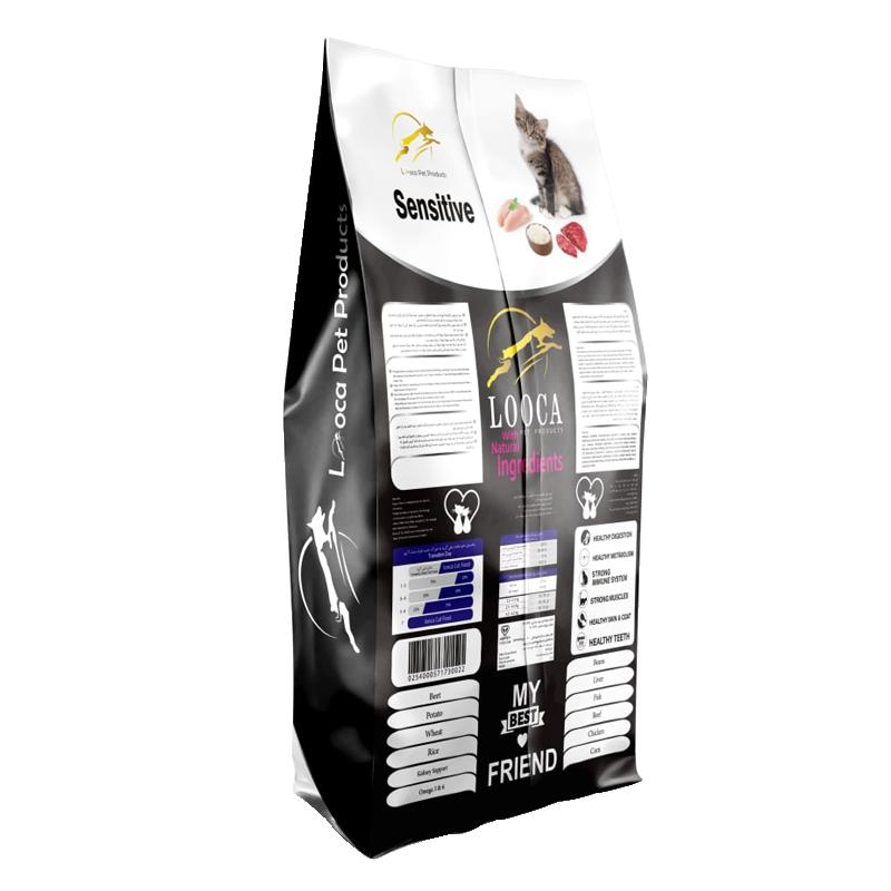 عکس پشت بسته بندی غذای خشک گربه لوکا مدل Sensitive وزن 2 کیلوگرم