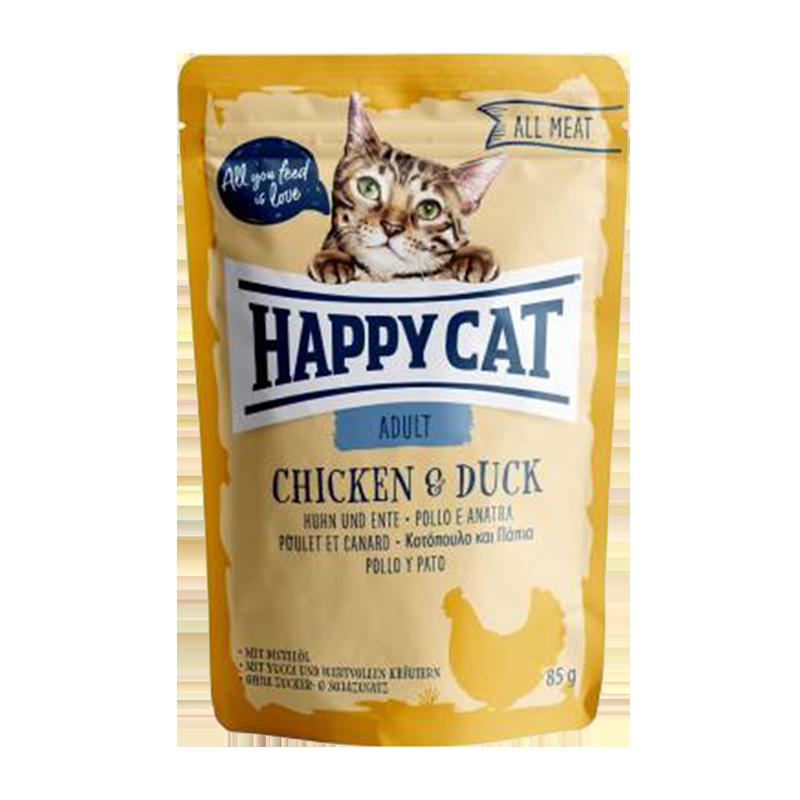 عکس بسته بندی پوچ گربه هپی کت مدل Adult Chicken & Duck وزن ۸۵ گرم