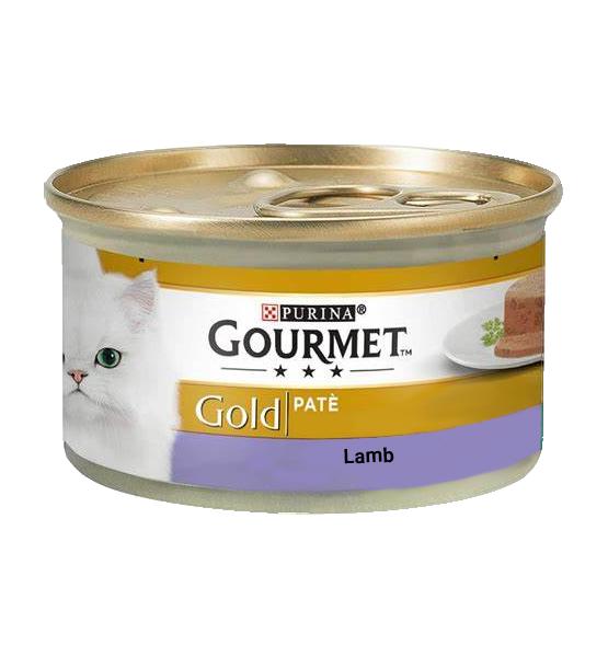 عکس بسته بندی کنسرو غذای گربه گورمت مدل Gold Lamb وزن ۸۵ گرم