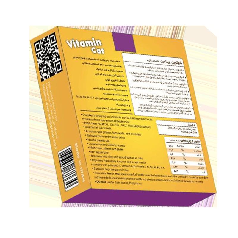 عکس پشت بسته بندی تشویقی گربه بنجی مدل ChocoBen Vitamin بسته 50 عددی