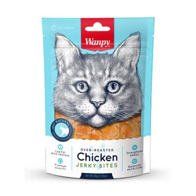 تشویقی گربه ونپی مدل Chicken Crispy Jerky bites وزن 25 گرم