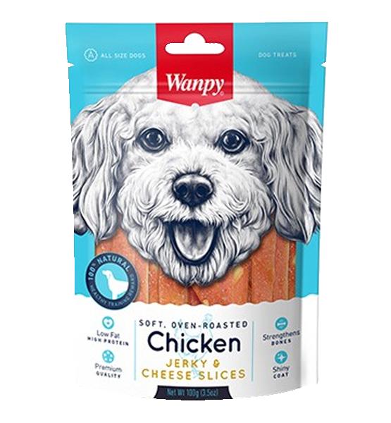 عکس بسته بندی تشویقی سگ ونپی مدل Chicken Jerky Cheese Slices وزن 100 گرم