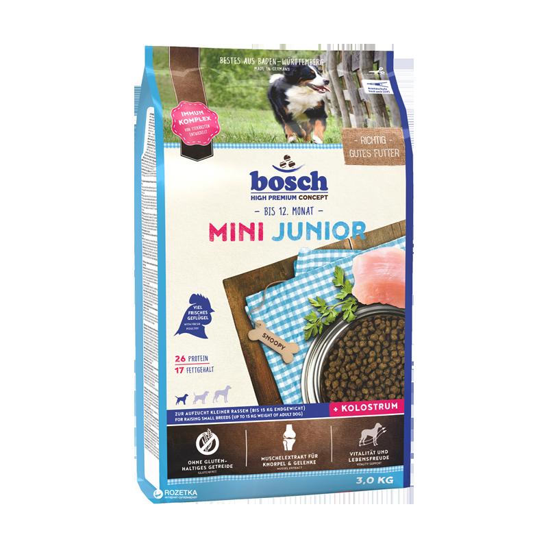 غذای خشک توله سگ بوش Bosch With Poultry Mini Junior وزن 3 کیلوگرم