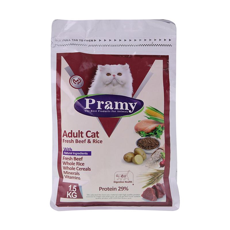 عکس بسته بندی غذای خشک گربه پرامی مدل Adult Cat وزن 1.5 کیلوگرم