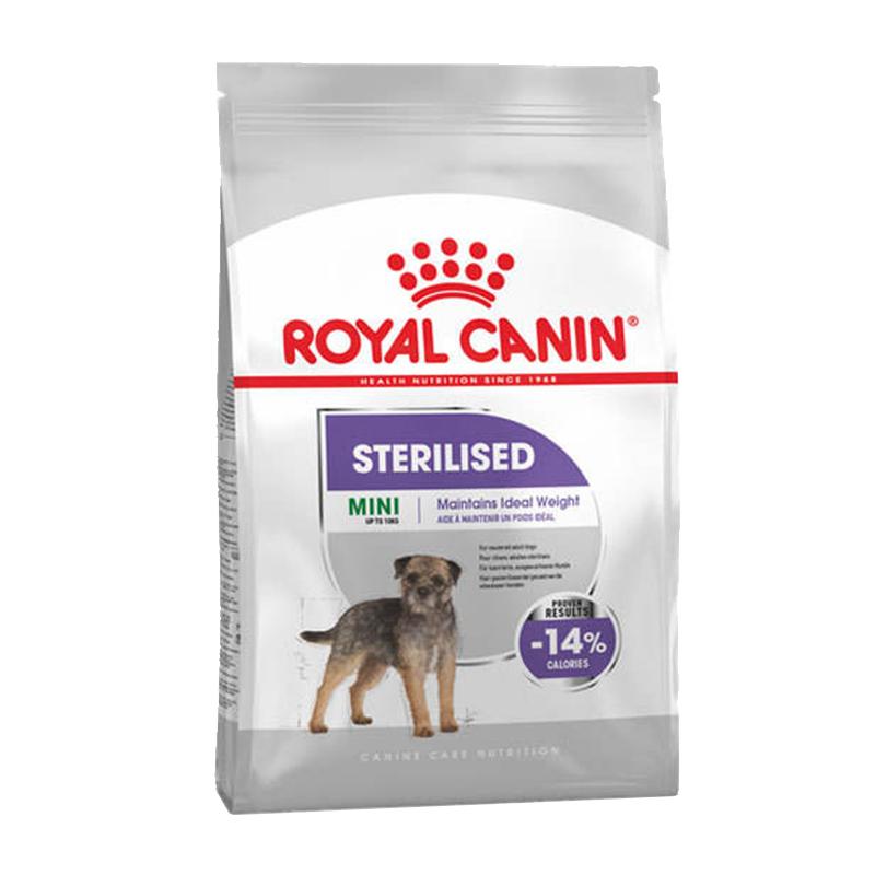 عکس بسته بندی غذای خشک سگ رویال کنین مدل Mini Sterilised وزن 3 کیلوگرم