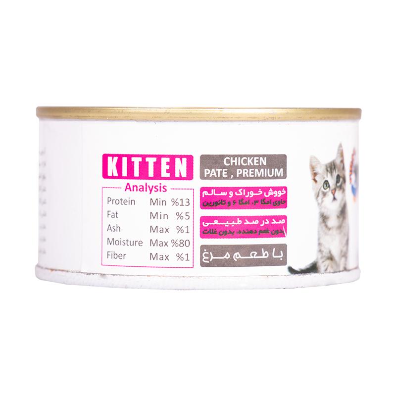 راهنمای تغذیه کنسرو غذای بچه گربه فیدار مدل Kitten Chicken Pate وزن 120 گرم