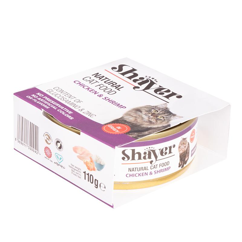 عکس بسته بندیکنسرو غذای گربه شایر مدل Chicken & Shrimp وزن 110 گرم