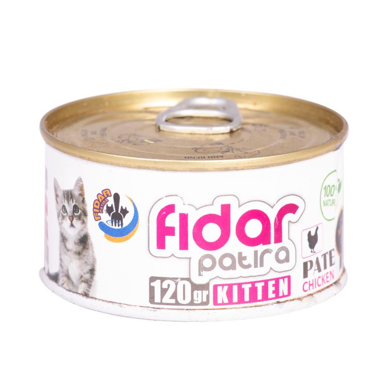 عکس بسته بندی کنسرو غذای بچه گربه فیدار مدل Kitten Chicken Pate وزن 120 گرم