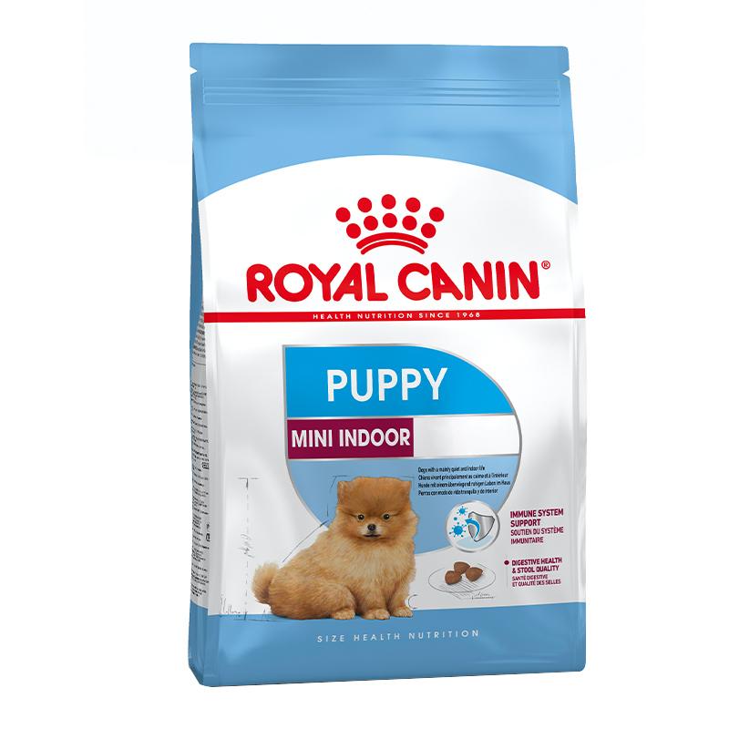 عکس بسته بندی غذای خشک توله سگ رویال کنین مدل Mini Indoor Puppy وزن 1.5 کیلوگرم