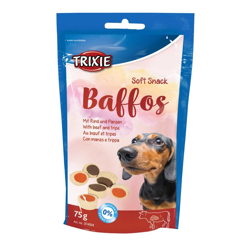 عکس بسته بندی تشویقی سگ تریکسی مدل Baffos با طعم گوشت و سیرابی وزن 75 گرم