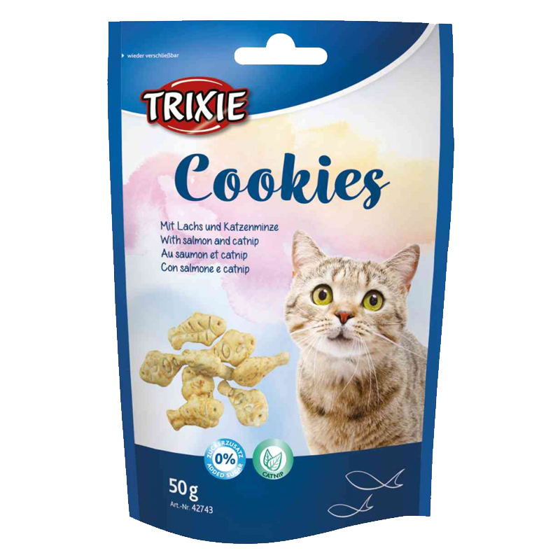 عکس بسته بندی تشویقی بیسکویتی گربه تریکسی مدل Cookies با طعم سالمون وزن 50 گرم